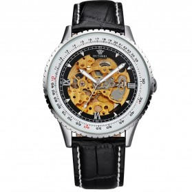 Ouyawei Skeleton Leather Strap Automatic Mechanical Watch - OYW1335 - Silver Black