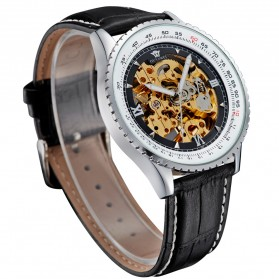 Ouyawei Skeleton Leather Strap Automatic Mechanical Watch - OYW1335 - Silver Black - 2