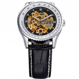Ouyawei Skeleton Leather Strap Automatic Mechanical Watch - OYW1335 - Silver Black - 3