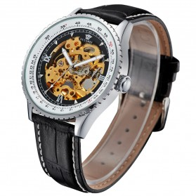 Ouyawei Skeleton Leather Strap Automatic Mechanical Watch - OYW1335 - Silver Black - 4
