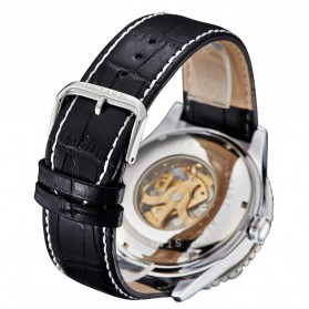 Ouyawei Skeleton Leather Strap Automatic Mechanical Watch - OYW1335 - Silver Black - 5