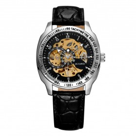Ouyawei Skeleton Leather Strap Automatic Mechanical Watch - OYW1216 - Black