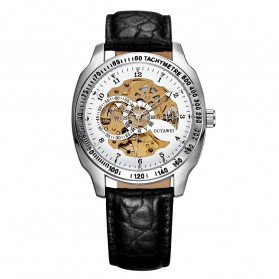Ouyawei Skeleton Leather Strap Automatic Mechanical Watch - OYW1216 - White - 1