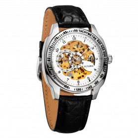 Ouyawei Skeleton Leather Strap Automatic Mechanical Watch - OYW1216 - White - 2