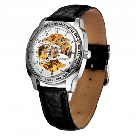 Ouyawei Skeleton Leather Strap Automatic Mechanical Watch - OYW1216 - White - 3
