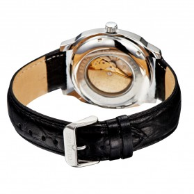 Ouyawei Skeleton Leather Strap Automatic Mechanical Watch - OYW1216 - White - 5