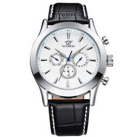 Ouyawei Luxury Men Leather Strap Automatic Mechanical Watch - OYW1333-2 - White/Silver
