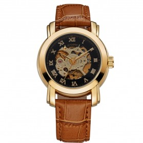 Ouyawei Skeleton Leather Strap Automatic Mechanical Watch - OYW1328 - Black Gold - 1