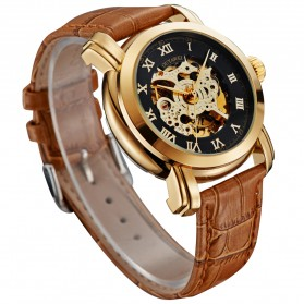 Ouyawei Skeleton Leather Strap Automatic Mechanical Watch - OYW1328 - Black Gold - 2