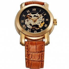 Ouyawei Skeleton Leather Strap Automatic Mechanical Watch - OYW1328 - Black Gold - 3
