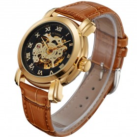 Ouyawei Skeleton Leather Strap Automatic Mechanical Watch - OYW1328 - Black Gold - 4