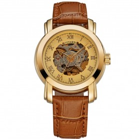 Ouyawei Skeleton Leather Strap Automatic Mechanical Watch - OYW1328 - Golden