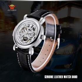 Ouyawei Skeleton Leather Strap Automatic Mechanical Watch - OYW1323 - White/Silver