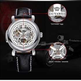 Ouyawei Skeleton Leather Strap Automatic Mechanical Watch - OYW1323 - White/Silver - 2