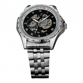 Ouyawei Skeleton Stainless Steel Automatic Mechanical Watch - OYW1309 - Silver Black - 4