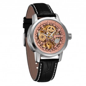 Ouyawei Skeleton Leather Strap Automatic Mechanical Watch - OYW1302 - Silver/Gold