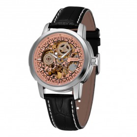 Ouyawei Skeleton Leather Strap Automatic Mechanical Watch - OYW1302 - Silver/Gold - 3