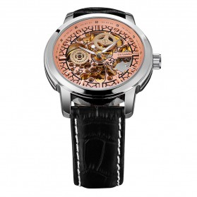 Ouyawei Skeleton Leather Strap Automatic Mechanical Watch - OYW1302 - Silver/Gold - 4