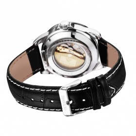 Ouyawei Skeleton Leather Strap Automatic Mechanical Watch - OYW1302 - Silver/Gold - 5