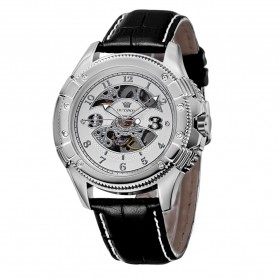 Ouyawei Skeleton Leather Strap Automatic Mechanical Watch - OYW1227 - White/Silver - 1
