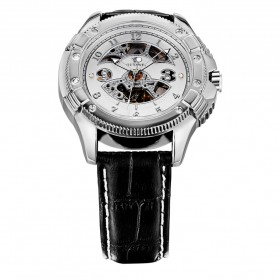 Ouyawei Skeleton Leather Strap Automatic Mechanical Watch - OYW1227 - White/Silver - 4