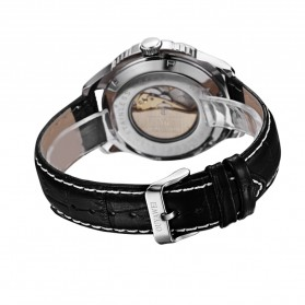 Ouyawei Skeleton Leather Strap Automatic Mechanical Watch - OYW1227 - White/Silver - 5