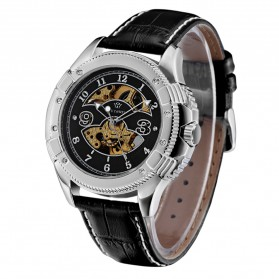 Ouyawei Skeleton Leather Strap Automatic Mechanical Watch - OYW1227 - Silver Black