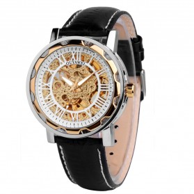 Ouyawei Luxury Men Leather Strap Automatic Mechanical Watch - OYW1221 - Black Gold