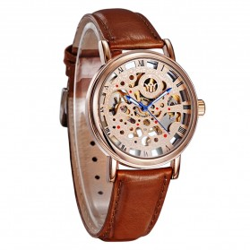 Ouyawei Skeleton Leather Strap Automatic Mechanical Watch - OYW1218 - Brown