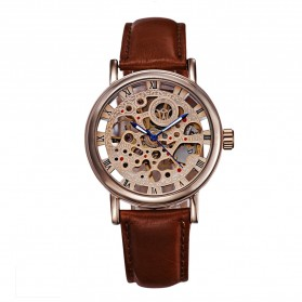 Ouyawei Skeleton Leather Strap Automatic Mechanical Watch - OYW1218 - Brown - 2