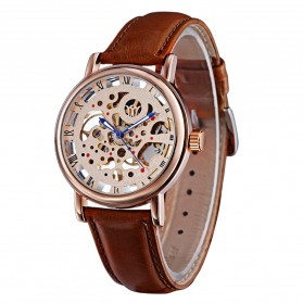 Ouyawei Skeleton Leather Strap Automatic Mechanical Watch - OYW1218 - Brown - 3