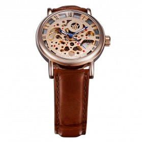 Ouyawei Skeleton Leather Strap Automatic Mechanical Watch - OYW1218 - Brown - 4