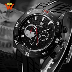 Ouyawei Quartz Silicone Strap Men Sports Watch 30M Water Resistance - OYW1212 - Black/Black