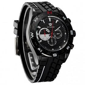 Ouyawei Quartz Silicone Strap Men Sports Watch 30M Water Resistance - OYW1212 - Black/Black - 2