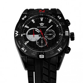 Ouyawei Quartz Silicone Strap Men Sports Watch 30M Water Resistance - OYW1212 - Black/Black - 4