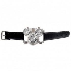 Oulm Mechanical Analog Quartz Men Leather Band Fashion Watch - 1167 - Black/Silver - 3