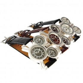 Oulm Mechanical Analog Quartz Men Leather Band Fashion Watch - 1167 - Black/Silver - 5