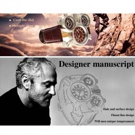 Oulm Mechanical Analog Quartz Men Leather Band Fashion Watch - 1167 - Black/Silver - 6