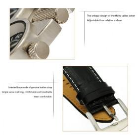 Oulm Mechanical Analog Quartz Men Leather Band Fashion Watch - 1167 - Black/Silver - 7