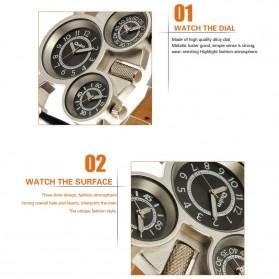 Oulm Mechanical Analog Quartz Men Leather Band Fashion Watch - 1167 - Black/Silver - 8