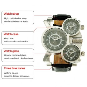 Oulm Mechanical Analog Quartz Men Leather Band Fashion Watch - 1167 - Black/Silver - 9