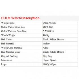 Oulm Mechanical Analog Quartz Men Leather Band Fashion Watch - 1167 - Black/Silver - 11