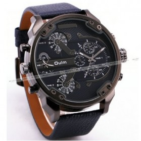 Oulm Jam Tangan Analog Leather Strap- 3548 - Black - 2