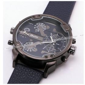 Oulm Jam Tangan Analog Leather Strap- 3548 - Black - 3