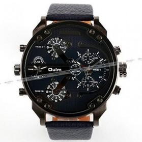 Oulm Jam Tangan Analog Leather Strap- 3548 - Black - 5