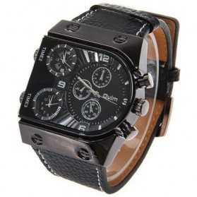Oulm Mechanical Analog Quartz Men Leather Band Fashion Watch - 9315 - Black