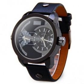 Oulm Jam Tangan Analog Leather - 3221 - Black