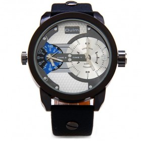Oulm Jam Tangan Analog Leather - 3221 - White