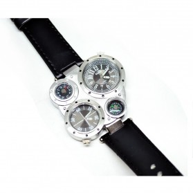 Oulm Quartz Men Leather Band Fashion Watch - 9415 - Silver Black