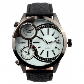 Oulm Jam Tangan Analog Leather - 3136 - White